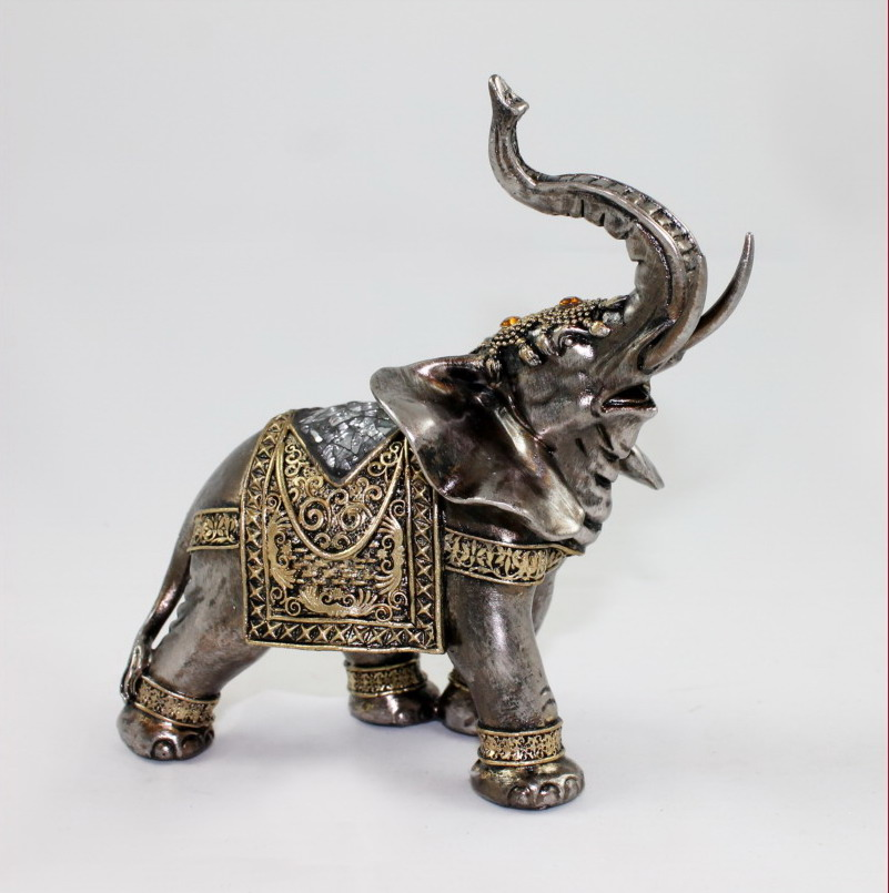 elefant tierfigur skulptur abstrakt elefanten deko figur antik silber mosaikglas ebay. Black Bedroom Furniture Sets. Home Design Ideas