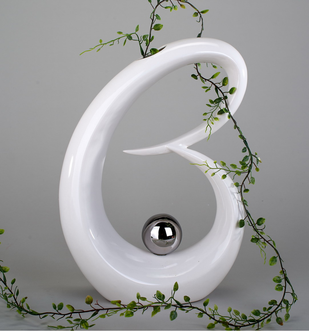 deko objekt vase artikel abstrakte skulptur figur mit silber kugel blumenvase ebay. Black Bedroom Furniture Sets. Home Design Ideas