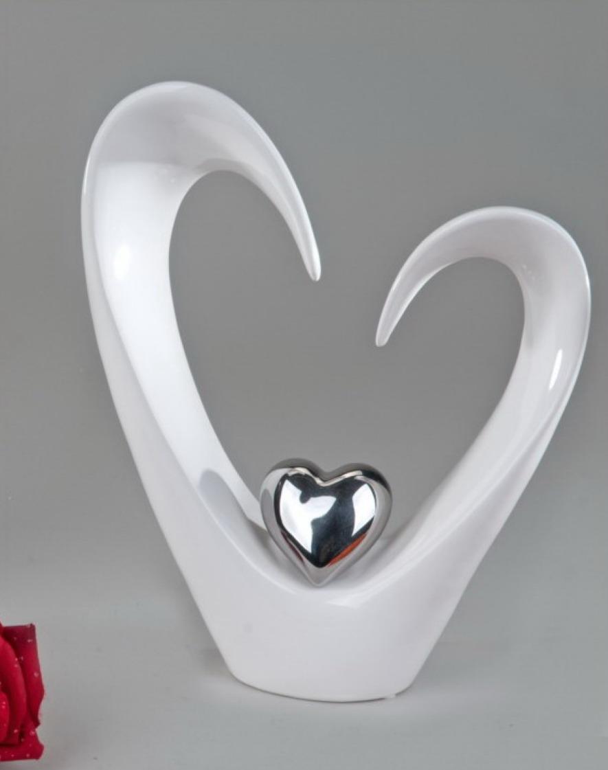 deko objekt herz artikel abstrakte skulptur figur silber herz steingut ebay. Black Bedroom Furniture Sets. Home Design Ideas
