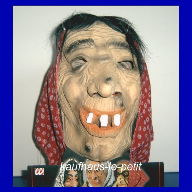 hexenmaske latex mit kopftuch und haar hexe maske grusel monster kost m karneval. Black Bedroom Furniture Sets. Home Design Ideas