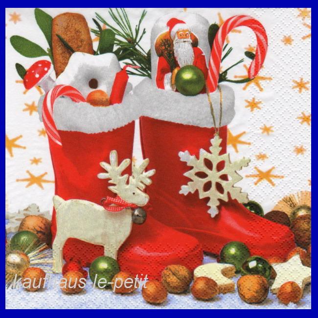 20 servietten weihnachten tischdeko nikolaus stiefel. Black Bedroom Furniture Sets. Home Design Ideas
