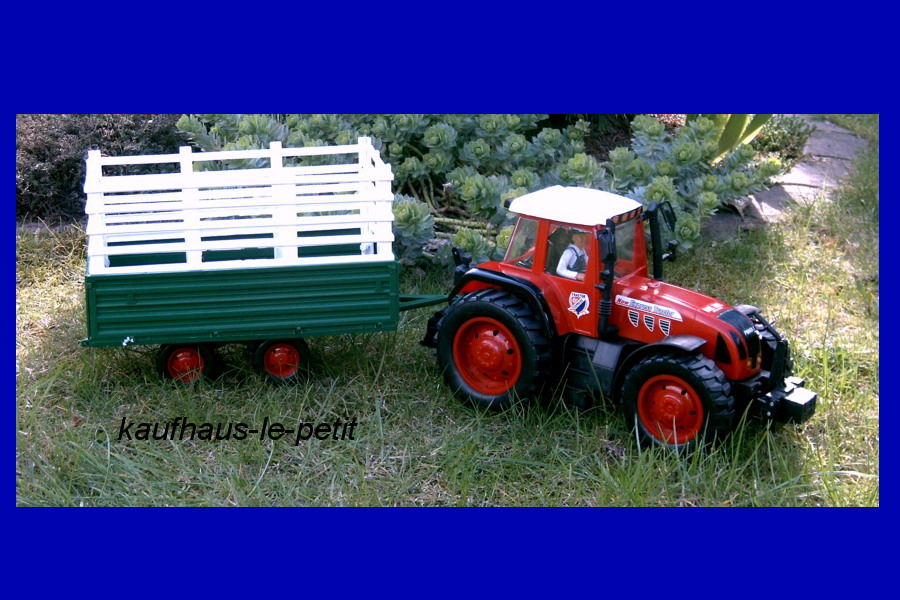 spielzeug traktor gro trecker mit anh nger friktionsantrieb farm bauernhof 75cm ebay. Black Bedroom Furniture Sets. Home Design Ideas