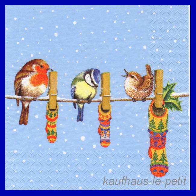 3 Servietten Vögel auf Leine Schnee Landschaft Technik
